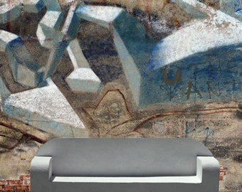 Graffiti Wallpaper Mural Decal-WallSkins Removable Wallpaper - TAGGED- Peel & Stick Self Adhesive Fabric Temporary-Repositionable-Reusable