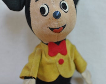 Early Mickey Mouse - Disney Vintage Mouse - Corduroy Mickey Mouse - Collectible Disney - Yellow Jacket Hat Mickey - Pre Mickey