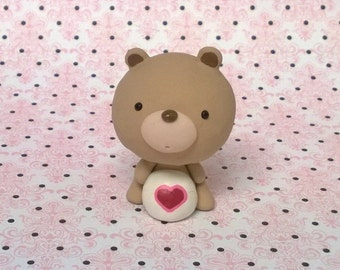 Tender Heart Care Bear Polymer Clay Animal Ooak Gift Figure Figurine Miniature Cute Collectible Heart