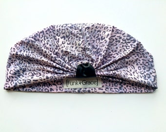 Light Pink and Lilac Leopard Print Turban W/ Faux Leather Tab