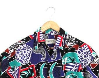 Vintage Mens Abstract Shirt J.T. Beckett Short Sleeve Cotton Medium 1990s
