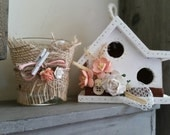 Small Shabby Chic Birdhouse Set with Floral Trim