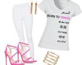 Born to Travel Vneck shirt WHITE