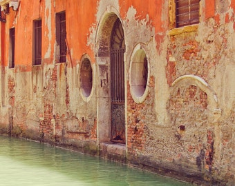 Venice Canals Photo, Large Art Print, Orange, Sage Green, Italy, Travel, Wall Decor, Old Door, Old World, Fine Art Photography, Shabby Chic