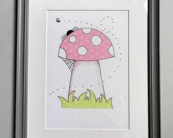 Toadstool collage illustration girls/nursery