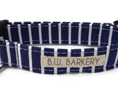 Dog collar in Navy and White Pinstripe for Small to Large Dogs