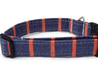 Dog Collar in Denim Blue and Coral Stripe for Small to Large Dogs