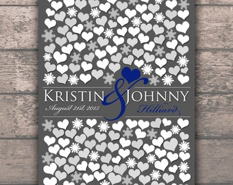 Fall Season ENGAGEMENT GIFT POSTER, Winter Wedding Snowflakes Guestbook, Winter Season Snowflakes Hearts, 200 Guests 20x30, Guest Book_06