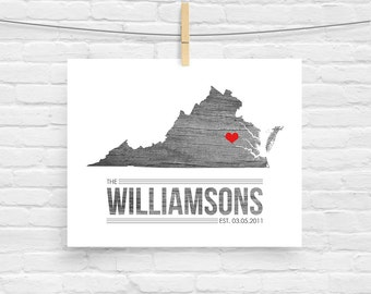 Virginia or ANY STATE Family Established Map Print - Custom Sign Home Decor - Last Name Sign - Heart Print Wall Art Housewarming Gift