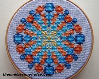 Modern Cross Stitch Pattern PDF Calypso Jewel Mandala Instant Download Cross Stitch Chart Whole Stitches Ombre Design Fits 4 Inch Hoop