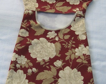 Burgundy & khaki floral clothespin bag with clip