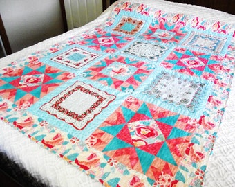 Vintage Hankies Quilt with Peach and Aqua Cotton Floral Fabrics