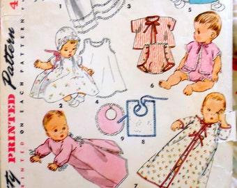Simplicity 4507 infant layette pattern, baby kimono pattern, newborn pattern, 1950s pattern, baby dress pattern, infant coat pattern