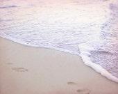 Pink Ocean Picture, Footprints On Beach Photo, Romantic Home Decor, Sunset Photography, Water Art Print, Pink Artwork, Seashore Photograph