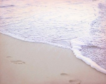 Pink Ocean Picture, Footprints On Beach Photo, Romantic Home Decor, Sunset Photography, Water Art Print, Pink Artwork, Seashore Photograph
