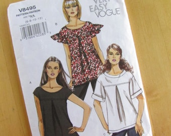 Vogue Sewing Pattern 8495 - Misses Petite Top - Size 6 - 12