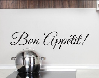 Bon Appetit Wall Decal Kitchen Wall Sticker Dining Room Wall Decor Removable Vinyl Lettering Backsplash Decoration Back Splash