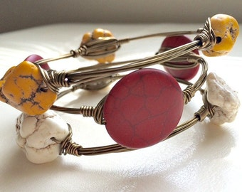 Garnet and Gold, Set of THREE, Antique Brass, GameDay Wire-Wrapped Bangles---MEDIUM
