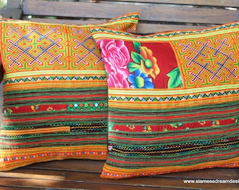 """Ethnic Hmong Pillows Colorful Orange Embroidery 16 """"  Decorative Cushion Cover"""