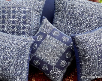 Hmong Pillow Covers In Indigo Batik, 16 or 20 Inch, 3 Patterns, Bohemian Style Decor, **Free worldwide shipping**