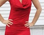 NEW DESIGN! Sexy Red Adjustable Drape Dress