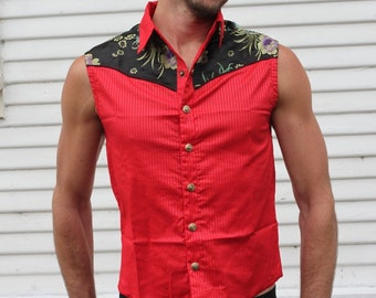 LIMITED EDITION Red + Black Sleeveless mens vest with Asian Print and Brass Sri yantra snaps