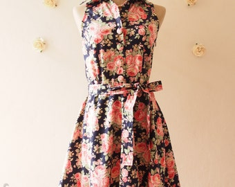 Tea Dress Navy Floral Dress Tea Party Dress Floral Summer Dress Floral Bridesmaid Dress Shirt Vintage Inspired Sundress  -Size XL