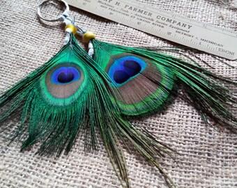 Peacock Feather Key Chain, Beautifully Irridecent, Bag Charm, Car Charm, Purse Charm, Luggage Flag Charm,Great Gift Idea,