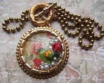 Brass Flower and Pearl Resin Pendant With Toggle Clasp and Vintage Etched Circlet