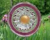 Garden and Yard sun catcher, Handmade Outdoor Art, recycled glass garden plate sculpture