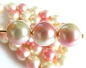 Czech Glass Pearl Beads - Pink/Creme Dual Color  - 10mm