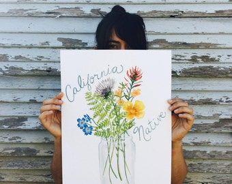 California Wildflowers Art - Original Gouache Flower Painting