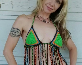 Fringed Hippie Halter Top, crocheted in lime green, teal, blue, orange and brown