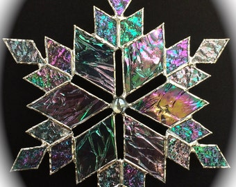 stained glass snowflake suncatcher  (design 13C)