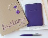 Custom Hand-Embroidered Moleskine Journal. Button & Twine Enclosure. Ruled Paper, choice of floss and button color on kraft