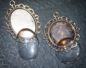 2 COMPLETE KITS to make Bridal Wedding Bouquet Charms - 1 Round and 1 oval Decorative Blank Pendants - Lead and Nickel Free