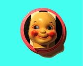 Creepy Cool Doll Face Wooden Plaque 3-D Art OOAK CReepy Clown Circus