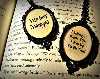 Mischief Managed I Solemnly Swear That I Am Up To No Good Harry Potter Inspired Necklace Pendant Black Ornate Frame Marauder's Map