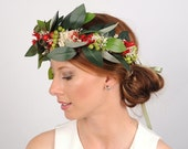 Australian Flower Crown, Green Leaf Headband, Head Wreath, Hair Garland, Costume Headdress, Australia Day, Garden Wedding, VelvetTeacup