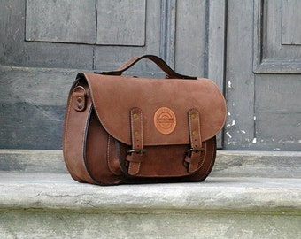 leather messenger backpack office bag ladybuq Size S brown