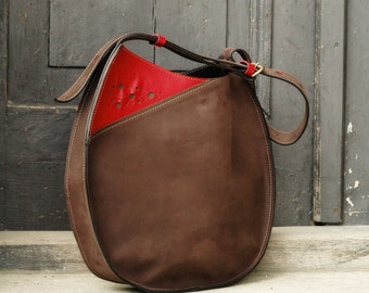 leather woman handmade handbag with long strap Lusi brown