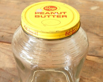 Pantry Counter Top Storage Jar Glass Vintage Advertising Jar Canister Kroger's Peanut Butter Kitchen Shelf Open Shelving Display