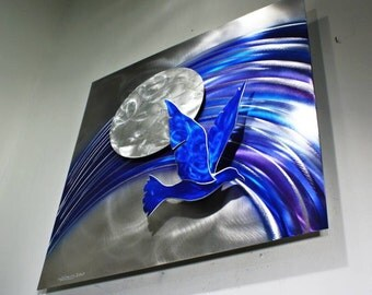 Metal Bird Wall Sculpture, Metal Wall Art Moon, Alex Kovacs Style by Wilmos Kovacs - W41
