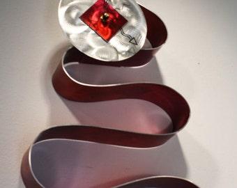 Wilmos Kovacs Modern Original Painted Abstract Metal Wall Art Clock Sculpture - W428