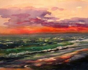 Original watercolor painting, seascape at Sunset at Sanibel Island, Florida