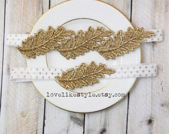 Gold Leaf Lace with White Polkadot Elastic  Wedding Garter Set, Toss Garter , Keepsake Garter, Gold Lace Bridal Garter / GT-31