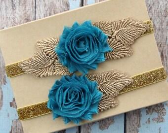 Teal Shabby Chic Flower with Gold Leaves Garter Set,Toss Garter , Keepsake Garter / GT-25