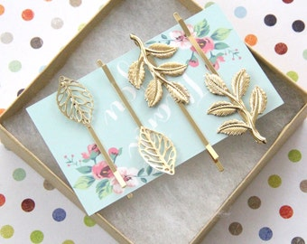 Gold Leaf Bobby Pin and Gold Branch Simple Bobby Pin, Set of 4 Gold Bobby Pin