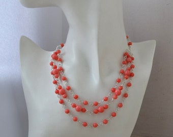Pink Coral Multi Strand Necklace Wire Wrapped Collar Necklace with Sterling Silver