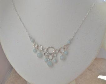 Ocean Blue Amazonite Sterling Silver Bubbles Circles Chain Bib Necklace